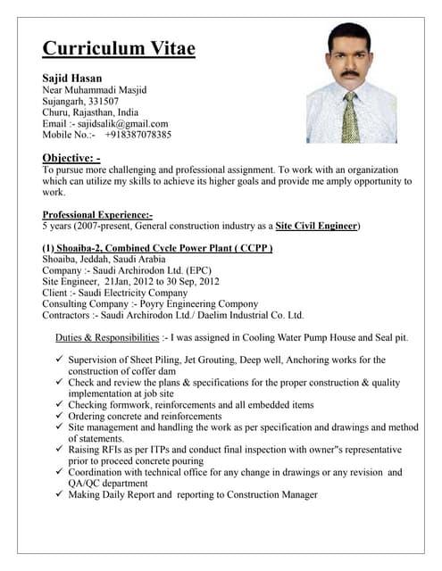 civil engineer resume samples india