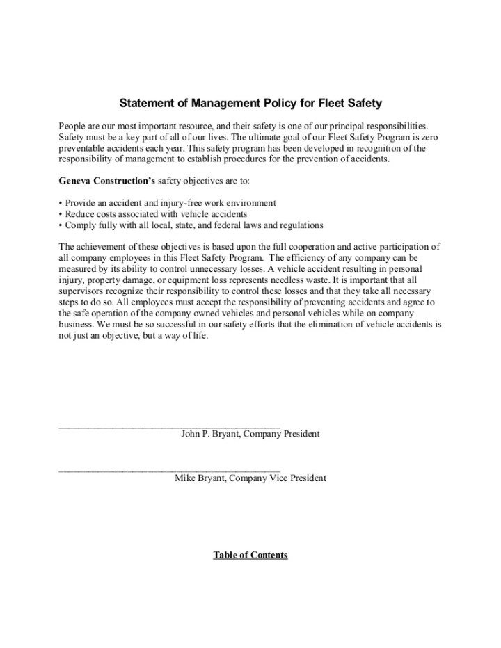 company car policy template company policy template 6 free pdf doents sample fleet safety program