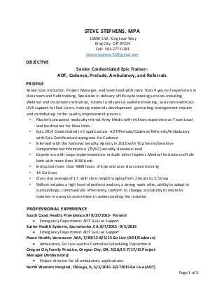 Epic Emr Resume For Sean Speer