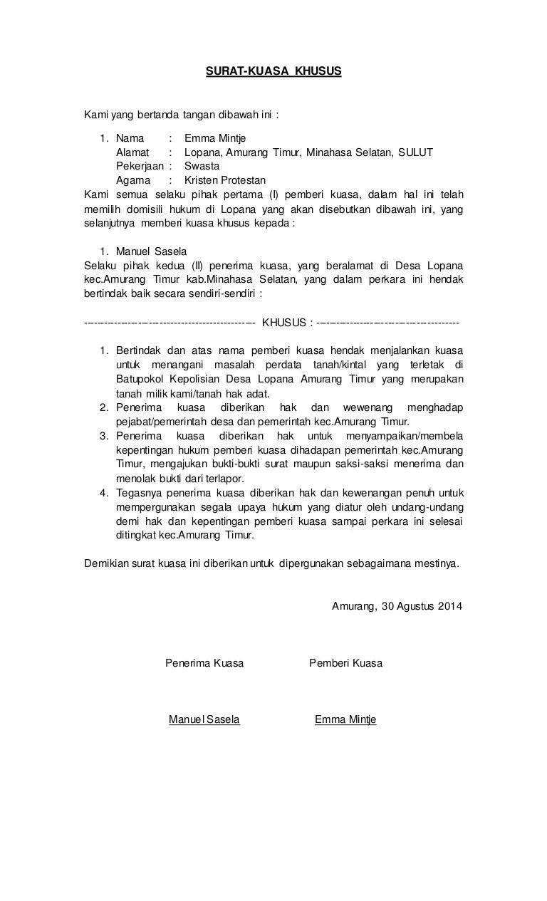 Contoh Surat Kuasa Peninjauan Kembali Perdata Kumpulan Contoh Surat Dan Soal Terlengkap