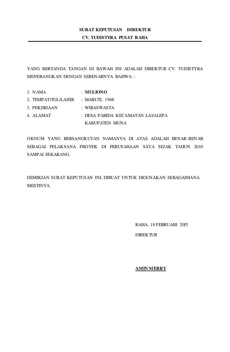 Surat Pengangkatan Direktur : surat, pengangkatan, direktur, Contoh, Surat, Keputusan, Direktur, Perusahaan, Download, Kumpulan, Gambar