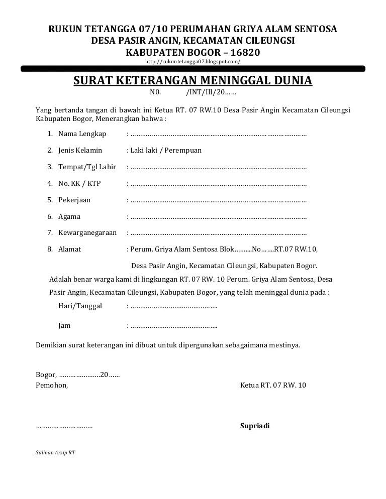 Surat Pernyataan Ahli Waris In English