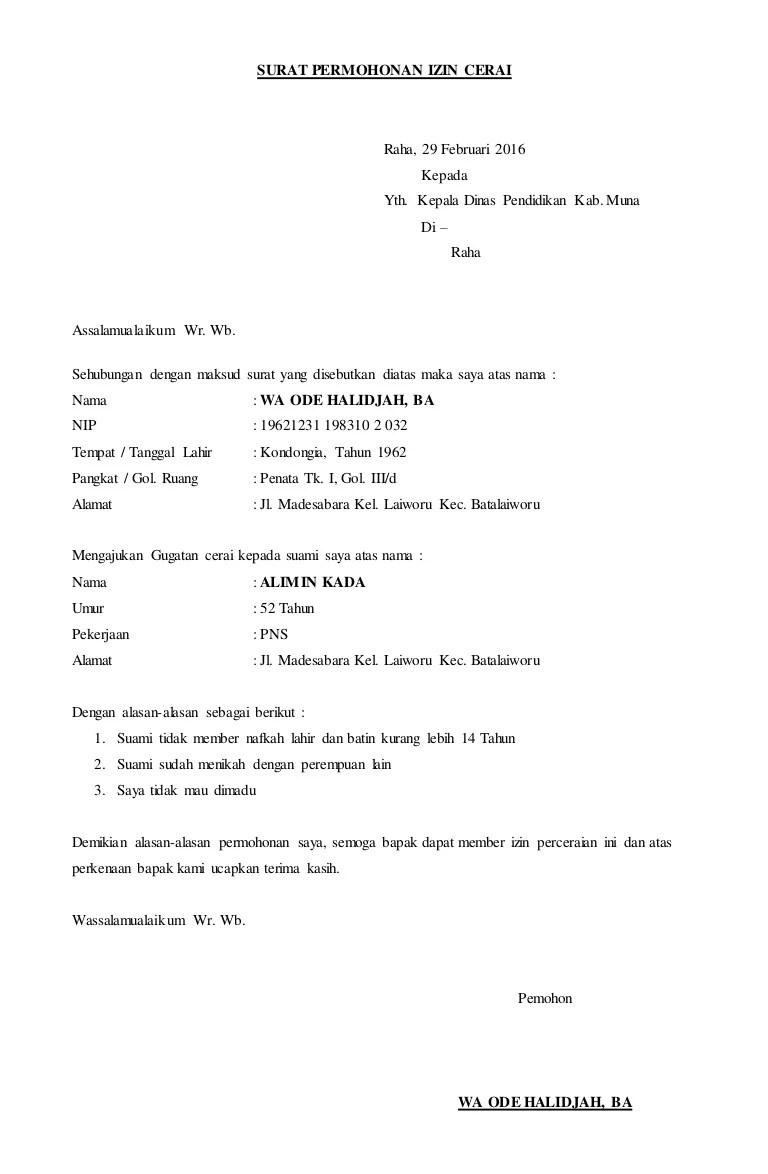 15 Contoh Surat Izin Atasan Untuk Cerai