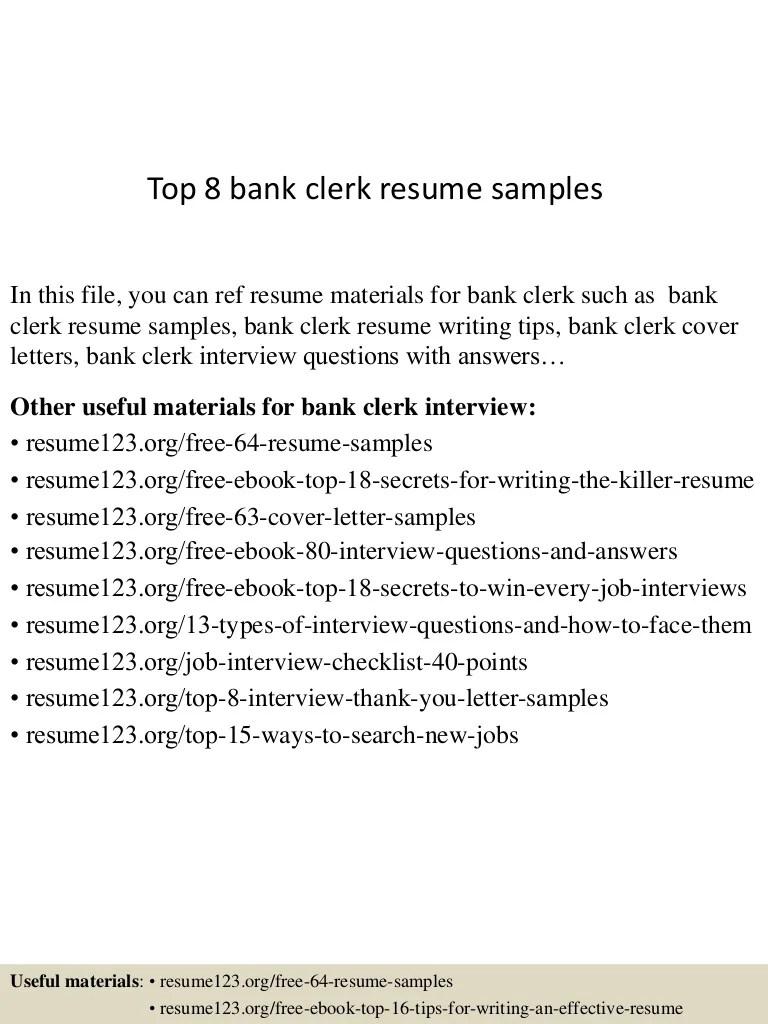 Top 8 Bank Clerk Resume Samples Inventory