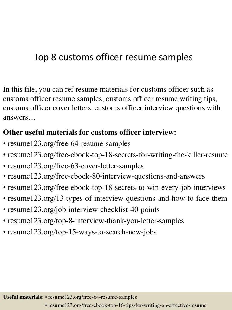 Top 8 Customs Officer Resume Samples