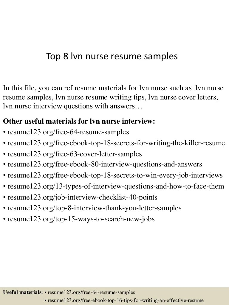 Sample Lvn Resumes. free sample nursing resume objectives ...