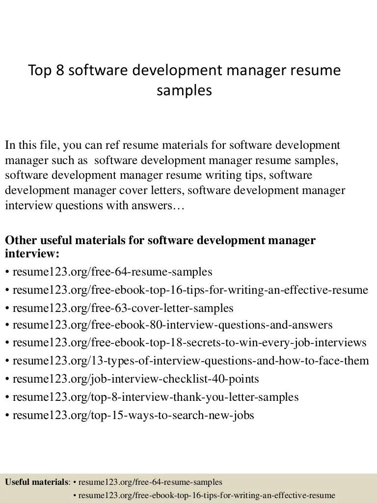 Top 8 Software Development Manager Resume Samples