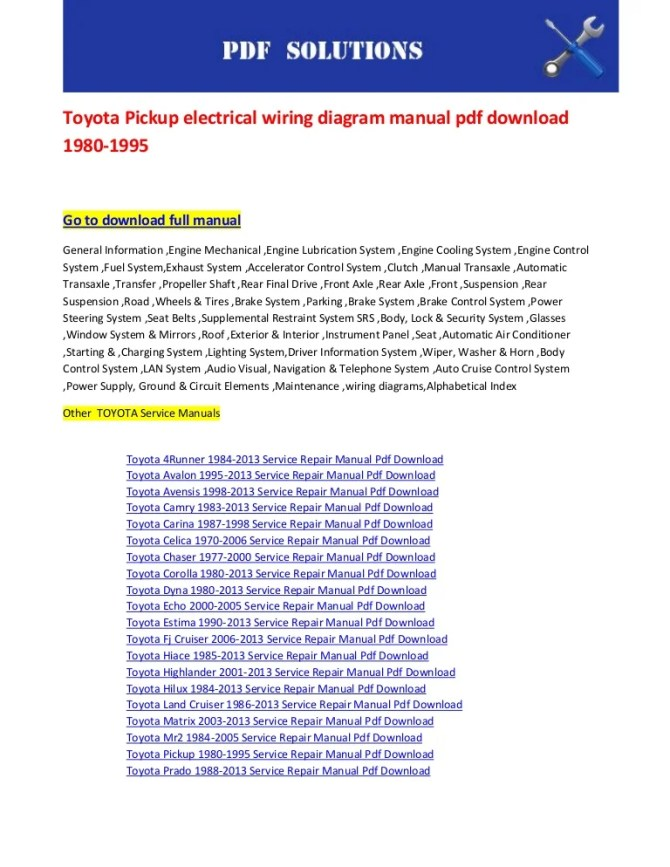 toyota pickup electrical wiring diagram manual pdf download