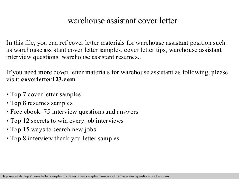 Warehouse Assistant Cover Letter Free