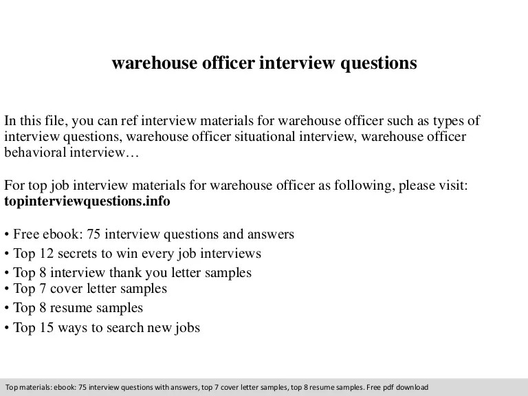 Warehouse Officer Interview Questions