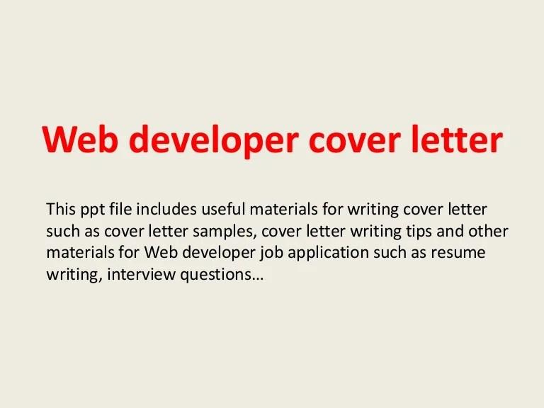 Cover ...  Web Developer Cover Letter