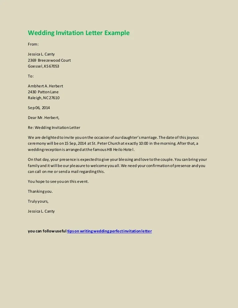 wedding invitation letter example