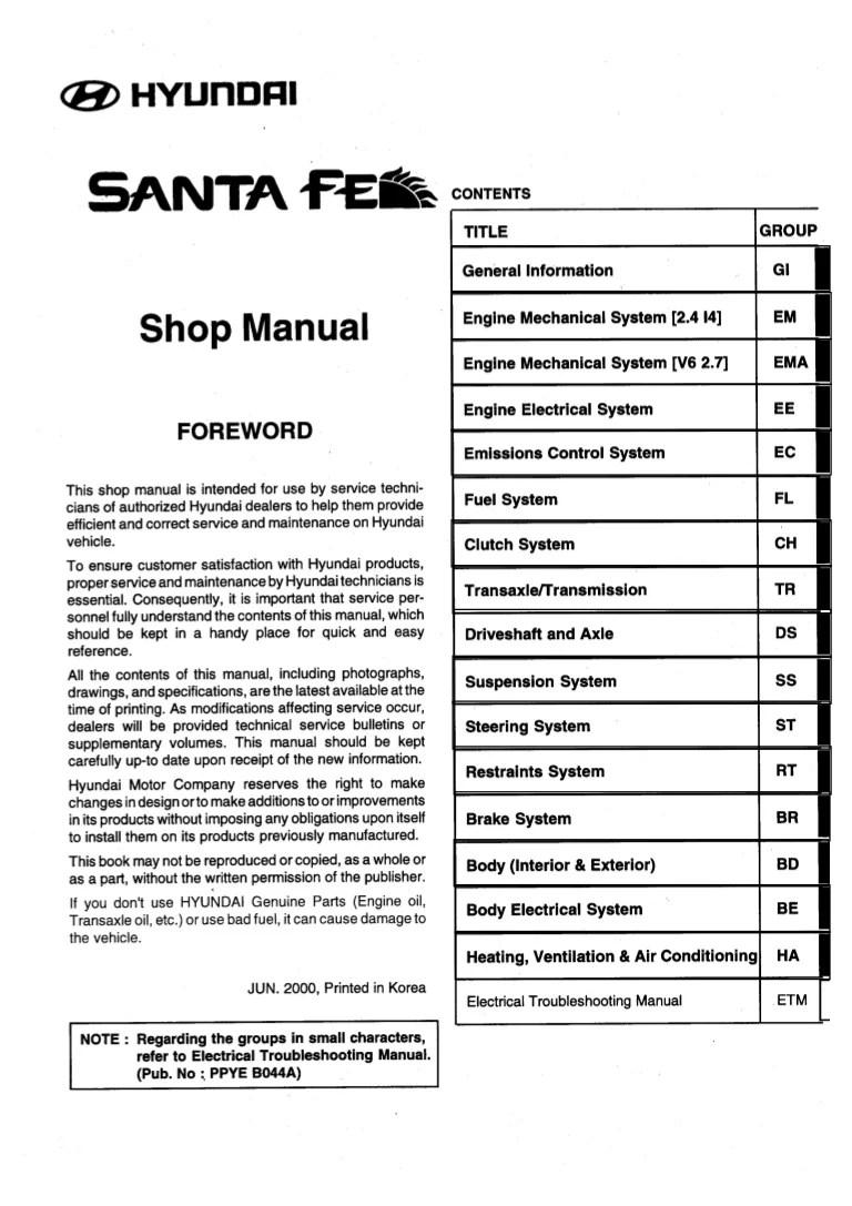 2004 hyundai santa fe service repair manual