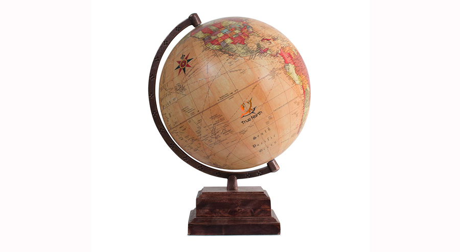 TRUE NORTH World Globe with Strong, Heavy-Duty Stand