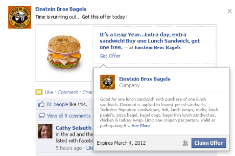 einsteins facebook offer