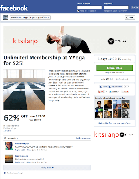 wishpond social offer by yyoga