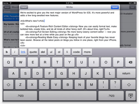 wordpress app ipad tool