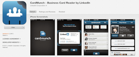 Top 13 phone apps w social value social buzz biz convert business cards to address book contacts and add them as connections on linkedin cardmunch provides card capture functionality for faster card reheart Choice Image