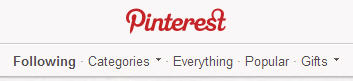 Pinterest old categories section