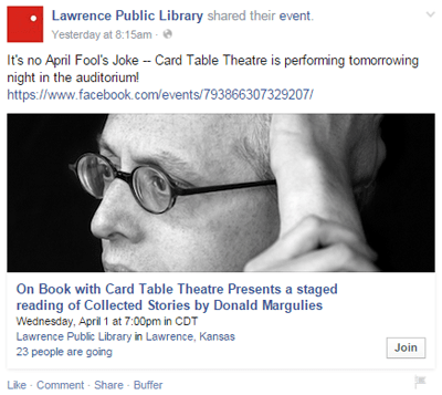 lawrence public library event facebook post
