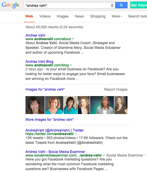 author pages in google search results