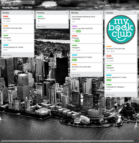 trello weekly planner board