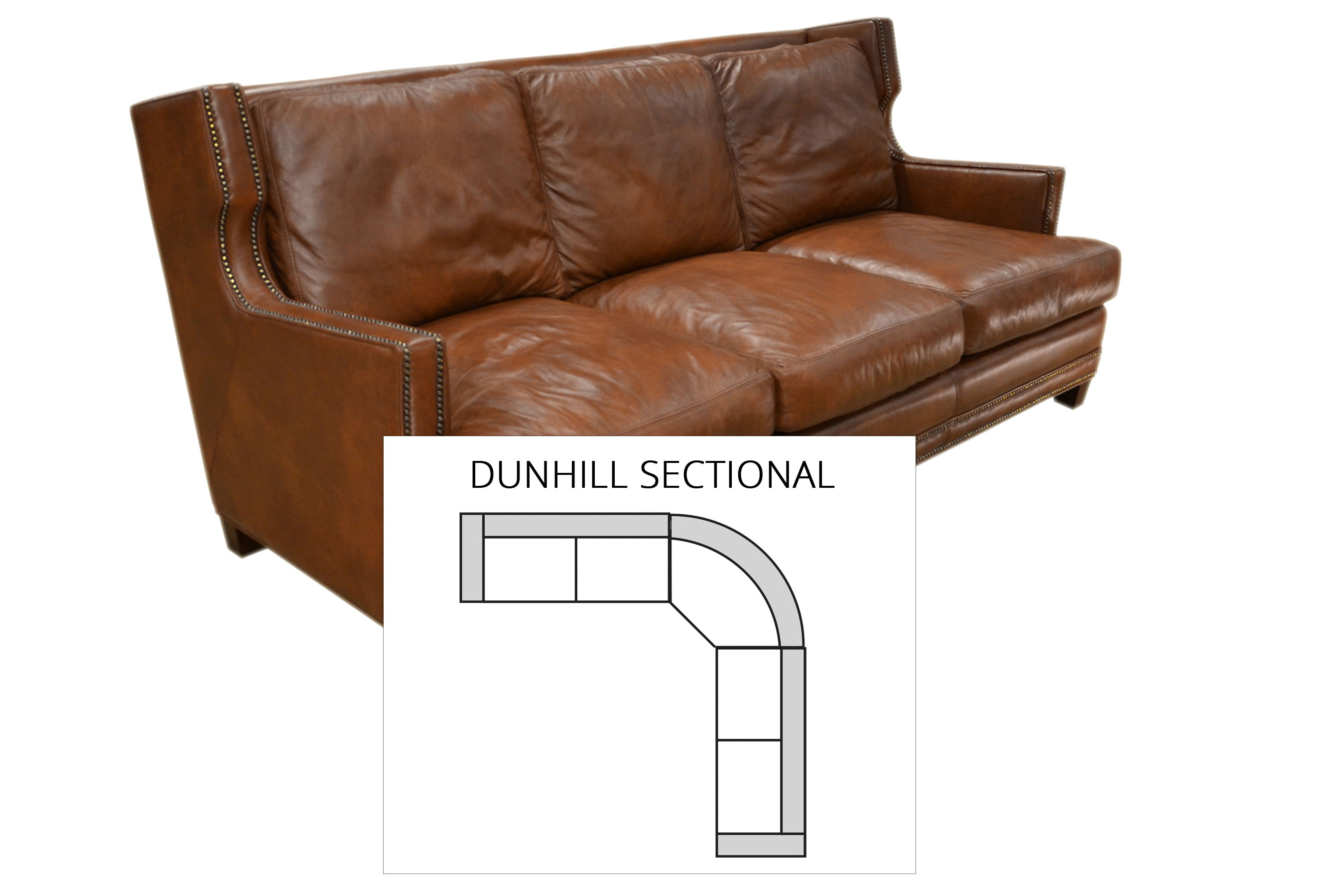 dunhill sectional all leather sofas