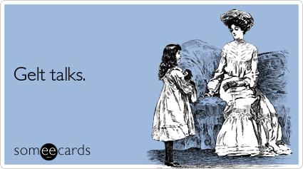 Funny Hanukkah Ecard: Gelt talks.