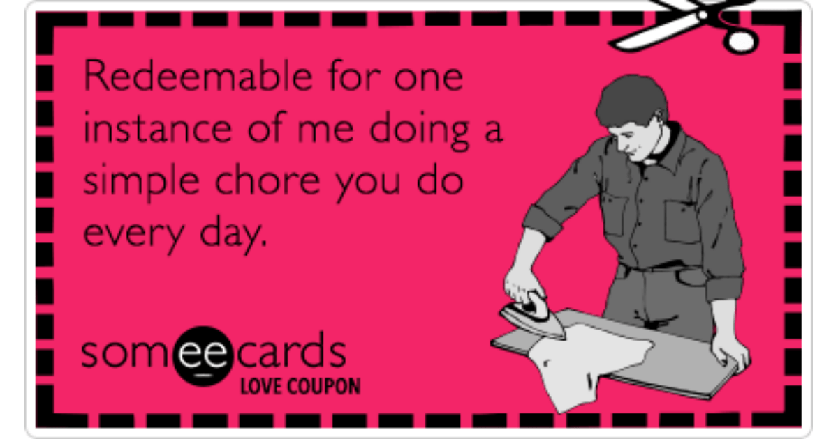 Love Coupon Redeemable For One Instance Of Me Doing A
