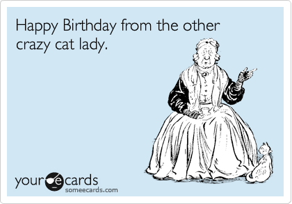 Happy Birthday From The Other Crazy Cat Lady Birthday Ecard