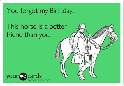 You Forgot My Birthday This Horse Is A Better Friend Than You Birthday Ecard