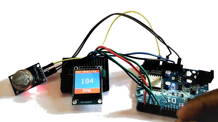 MQ135 Gas Sensor with ESP8266 and ST7789 SPI Display