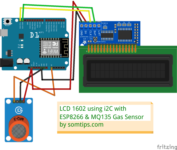MQ135 Gas Sensor with ESP8266 and LCD Display with I2C