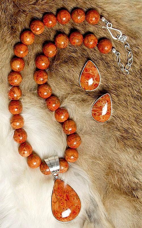 Orange Coral NecklacePendant Amp Earring Set Southwest