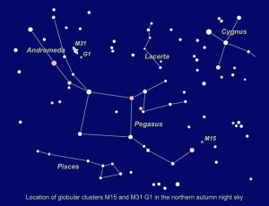 Location of M15 and M31 G1 in the northern autumn sky