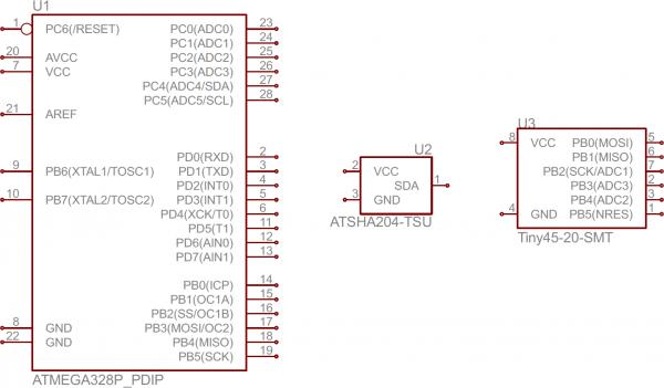 ATmega328, ATSHA204, and ATtiny45 IC symbols