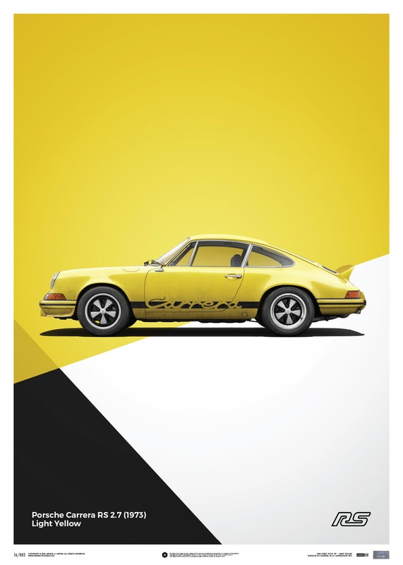 porsche 911 rs yellow poster limited edition