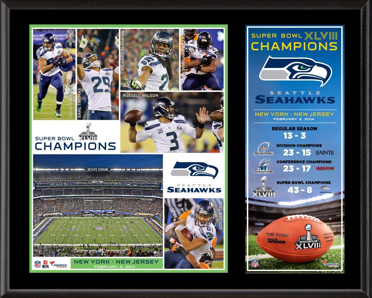 Seattle Seahawks Super Bowl XLVIII Champions Sublimated 12 x 15 Plaque