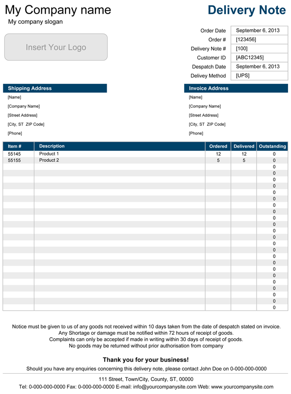 Delivery Form Template. Jpg. Delivery Note Template For Excel