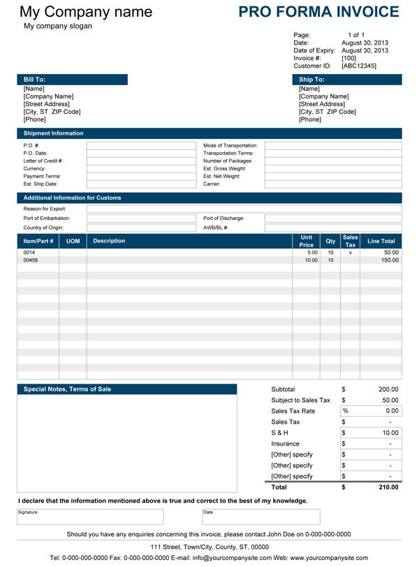 Proforma Invoice Template free proforma invoice template free – Invoice Template Samples