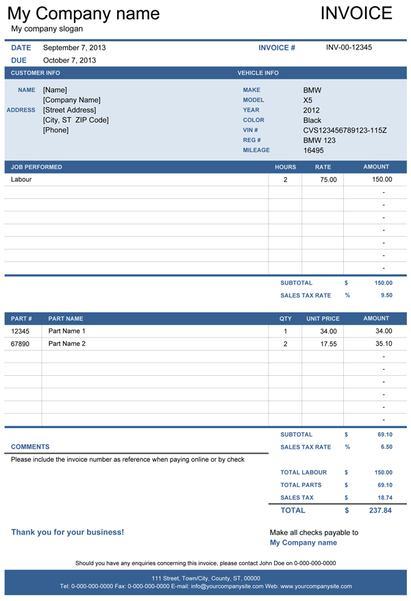 Vehicle Repair Invoice Template For Excel