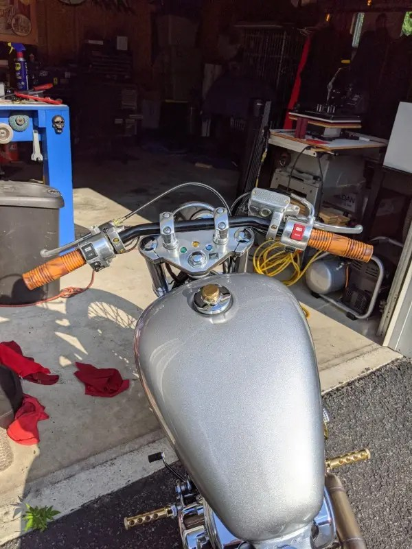 """Lowbrow Customs Cole Foster Grips Antique Grey Marble 1/"""" softail sportster"""
