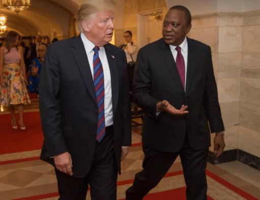 Kenyan president Uhuru Kenyatta talking with Trump