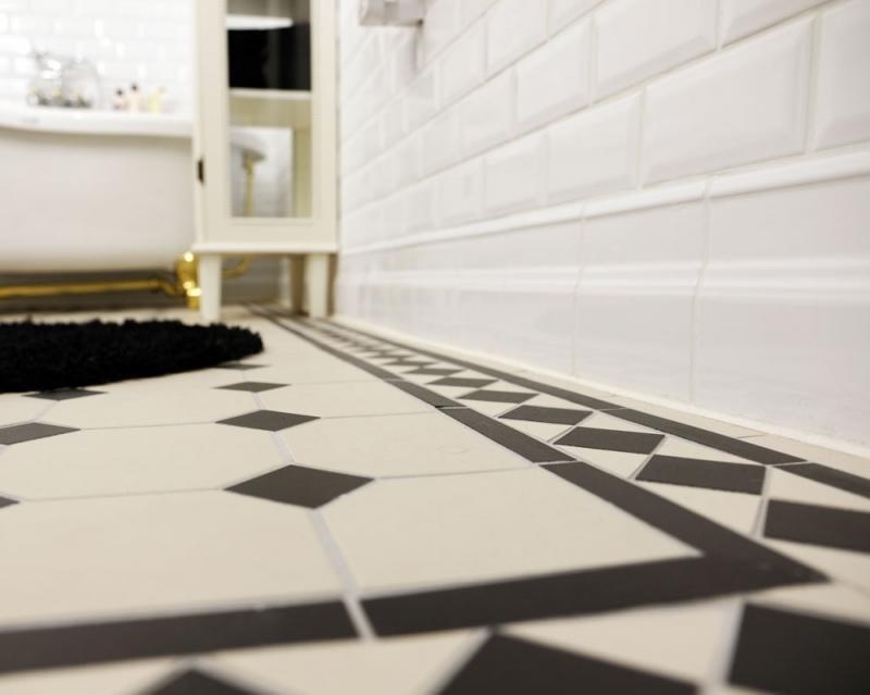 Octagon Floor Tiles 15 X 15 Cm White Black Winckelmans