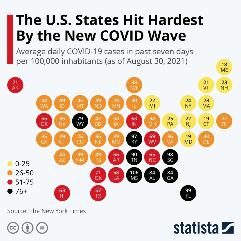 covid-19 case rate in US states