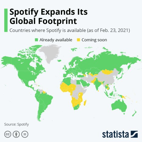Global availability of Spotify