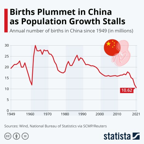 annual number of births in China