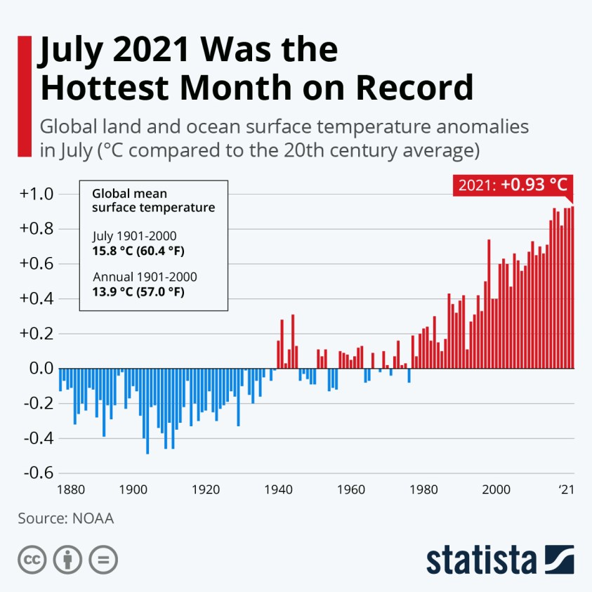 Global land and ocean surface temperature anomalies in July