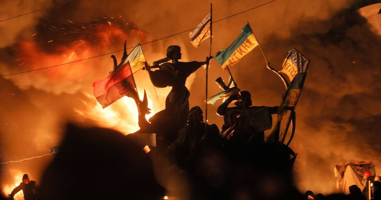 Protestors in Kiev, February 2014