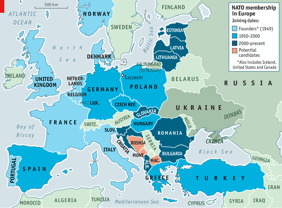 Image result for map of NATO countries and Russia